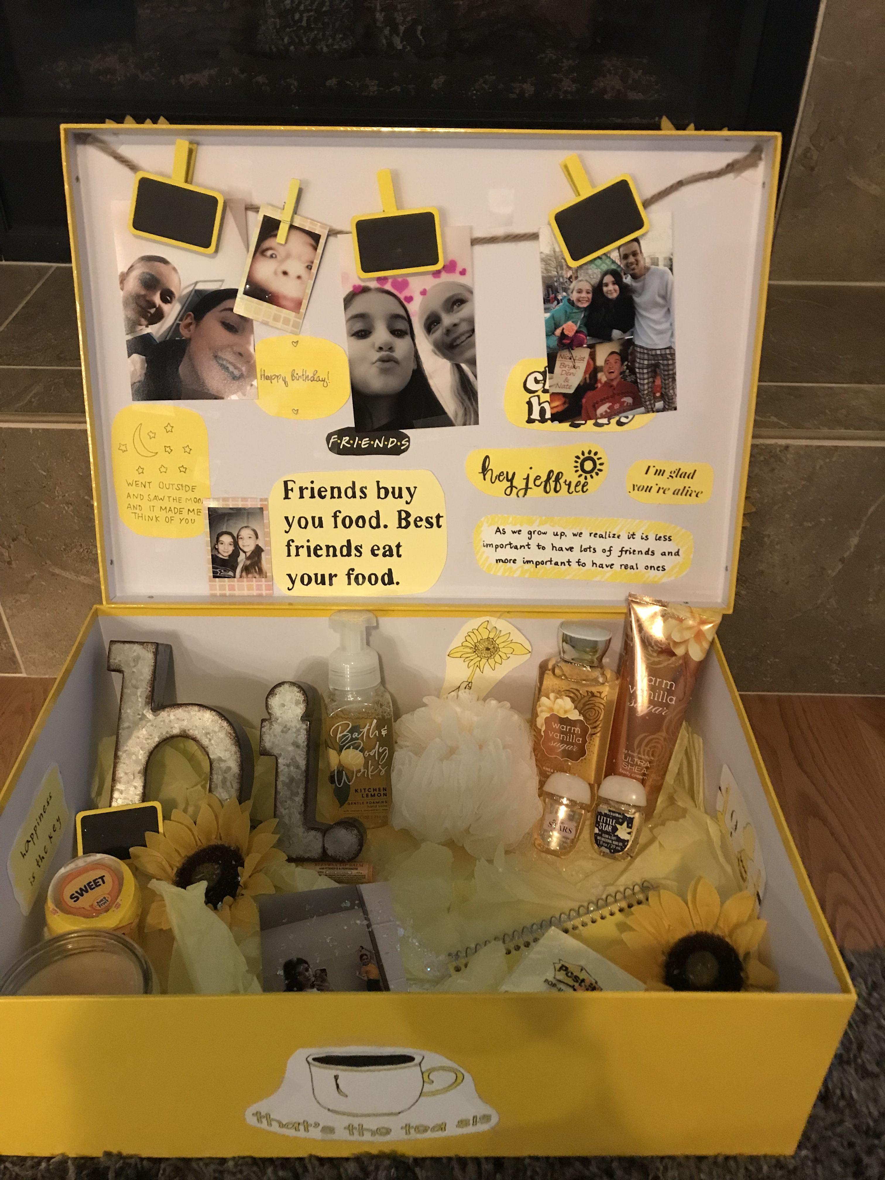 Yellow birthday box Bff birthday gift, Christmas gifts