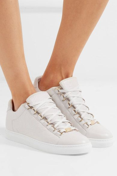 6aa39a606937 Balenciaga - Arena Crinkled-leather Sneakers - Off-white ...