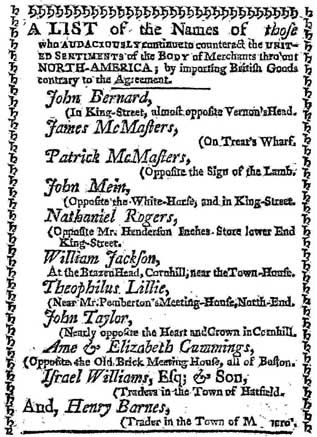 Importers List Townshend Acts Non Importation Agreement 1769 The
