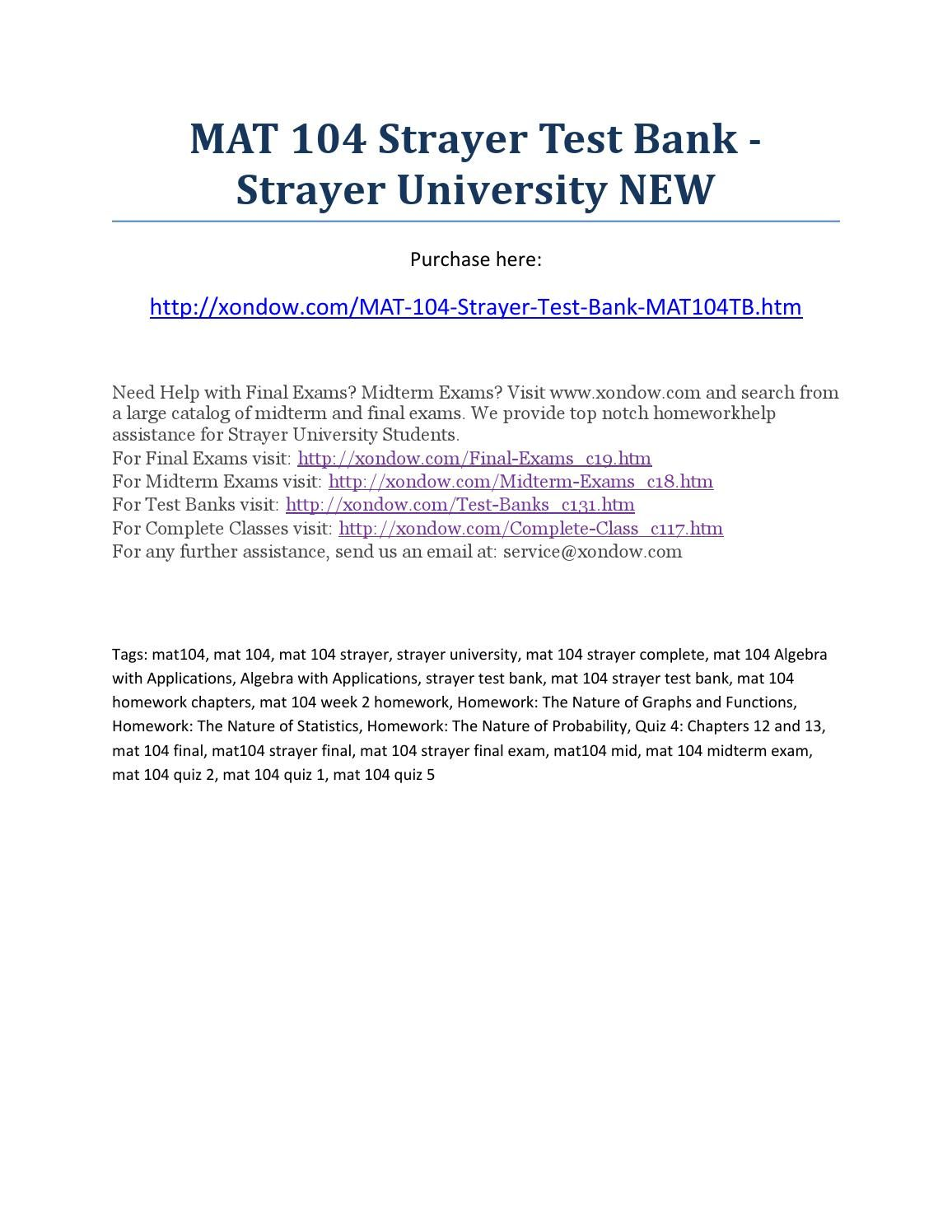 Mat 104 strayer all quizzes, midterm and final exams strayer