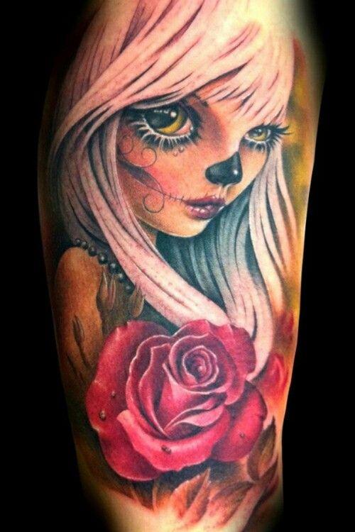 New School Day Of The Dead Tattoo Zombie Tattoos Skull Girl Tattoo Doll Tattoo