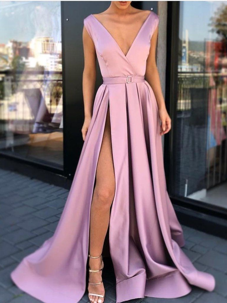25d98544594da A Line V Neck Satin High Slit Prom Dresses with Belt, V Neck Formal Dresses