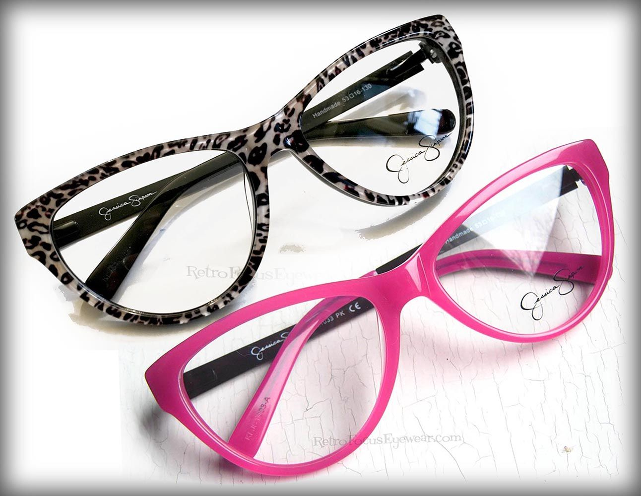Large leopard or pink cat eye eyeglass frames by Jessica Simpson ...