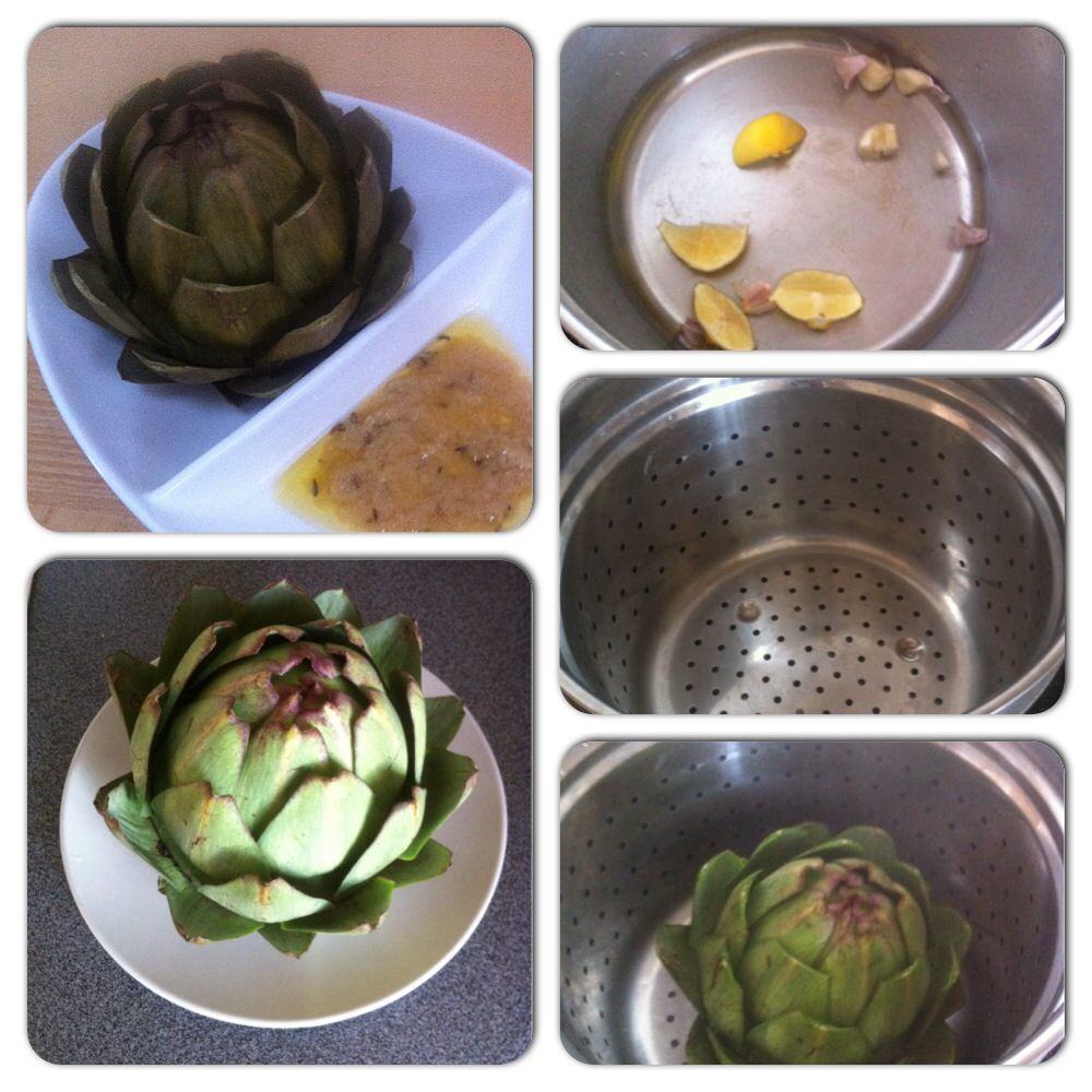 Contemplating the #artichoke. Steamed with #garlic and #lemon and eaten with a sweet and tangy garlic and #oliveoil #dip. #awesome #delicious #diet #fingerfood #food #foodie #food4gods #foodporn #healthy #lunch #nutrition #snack #yummy