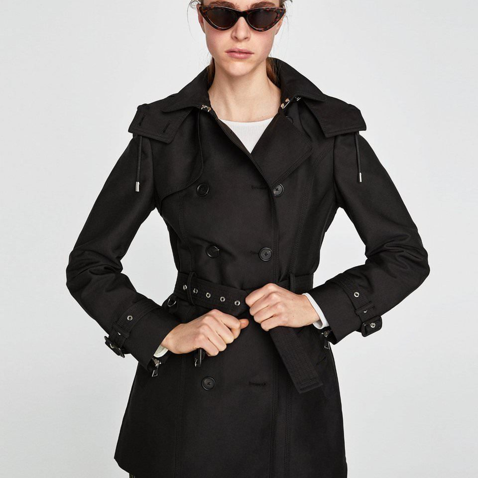 ad5598f1 ZARA black DOUBLEBREASTED TRENCH COAT WITH HOOD zips SIZE S uk 8 REF  0518/252 #fashion #clothing #shoes #accessories #womensclothing  #coatsjacketsvests ...
