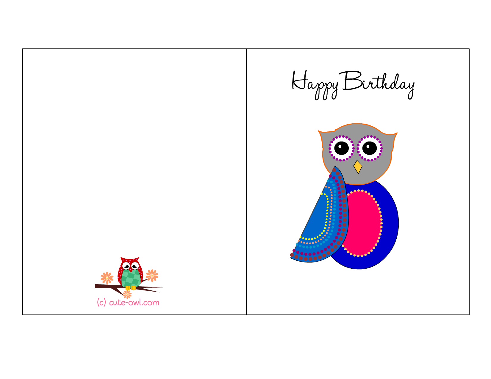 owlbirthdaycard4png 1650 1275 pixels Children – Birthday Cards Free Printable