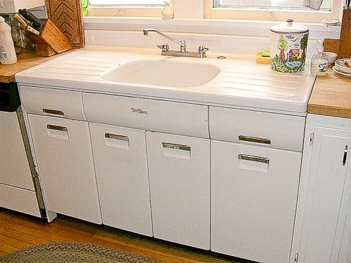 kitchen sink cabinets kidkraft red vintage 53173 joe replaces a porcelain drainboard with new i once used like this at vacation rental and fell in love