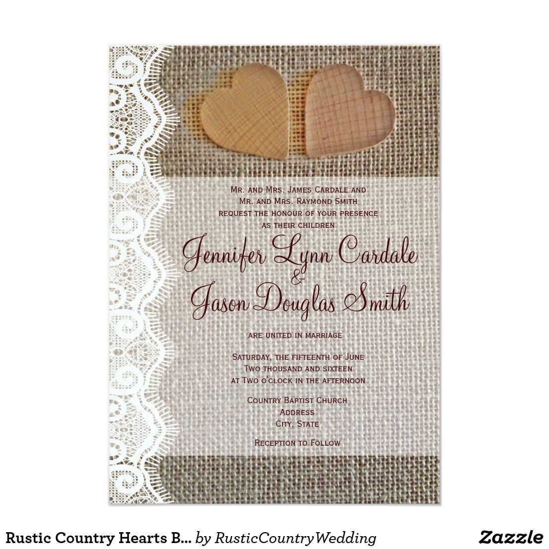 Rustic Country Hearts Burlap Lace Wedding Invites This rustic ...