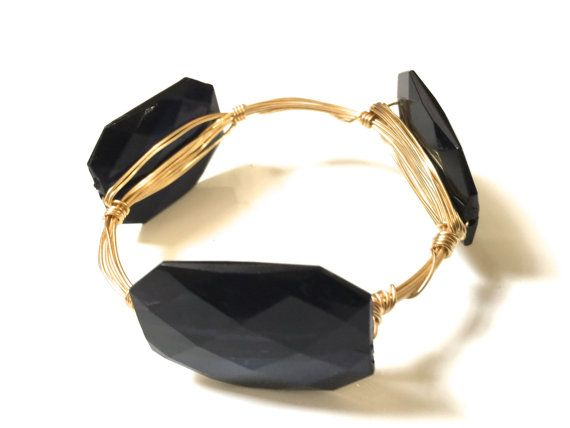 The Hampton Bracelet in Midnight Acrylic Preppy Nugget Wire Wrapped Stacking bangle bracelet