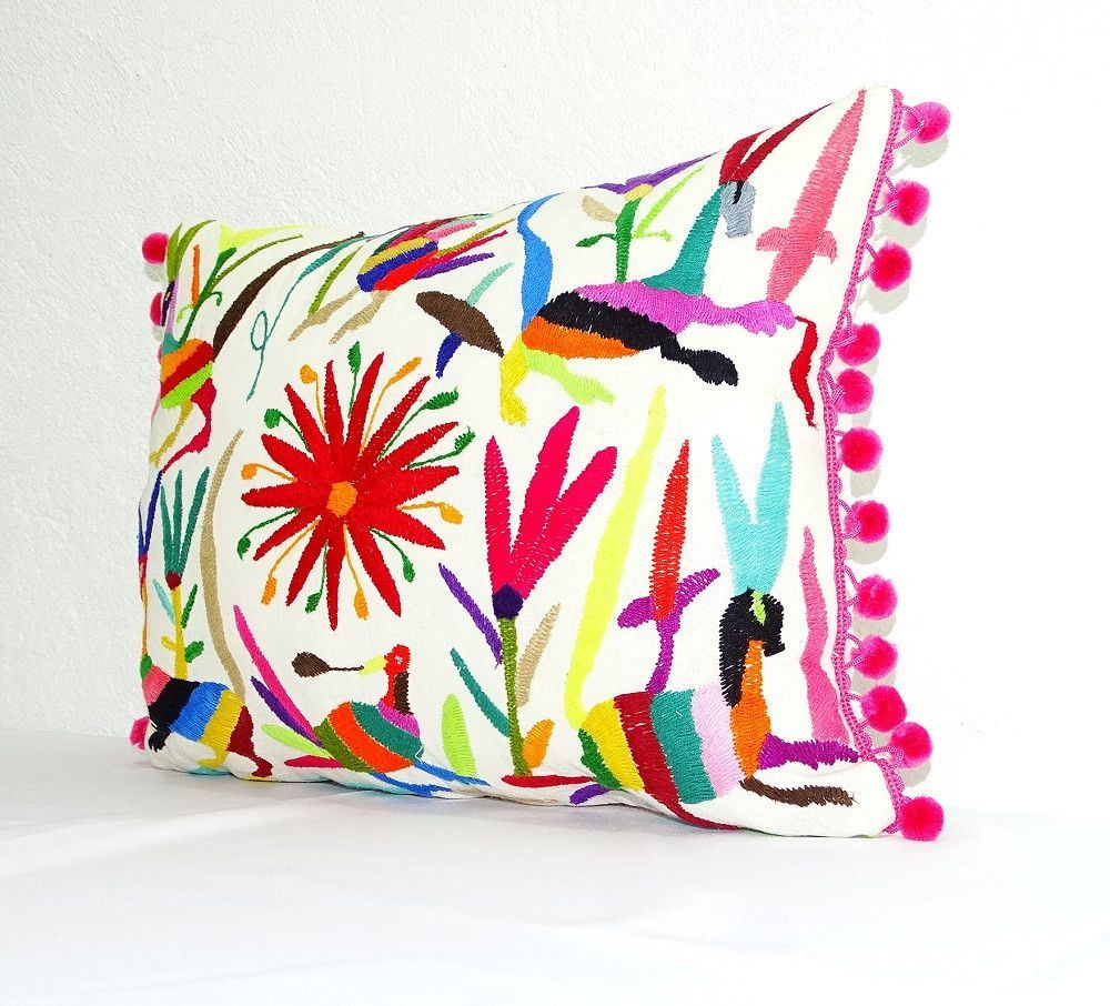 Otomi Pillow Cover, Colorful Mexican Embroidered Cushion Cover, Bohemian Decor