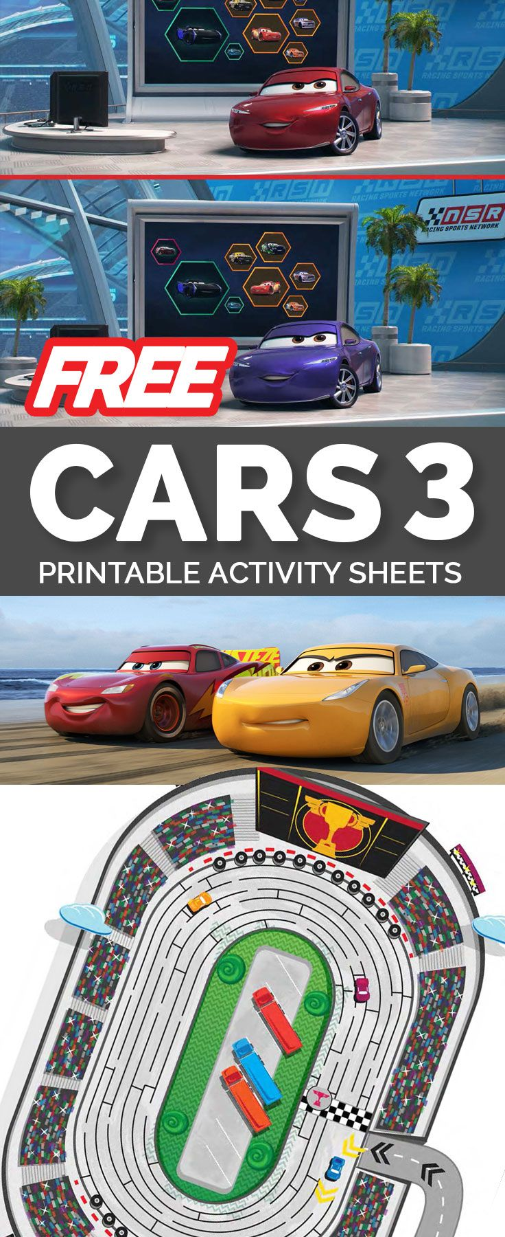 cars 3 printable activity sheets free to download and print