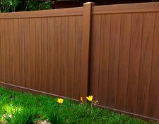 Mocha Walnut Vinyl Fencing Factory Direct Fence Design Vinyl Fence Wood Grain Vinyl Fence