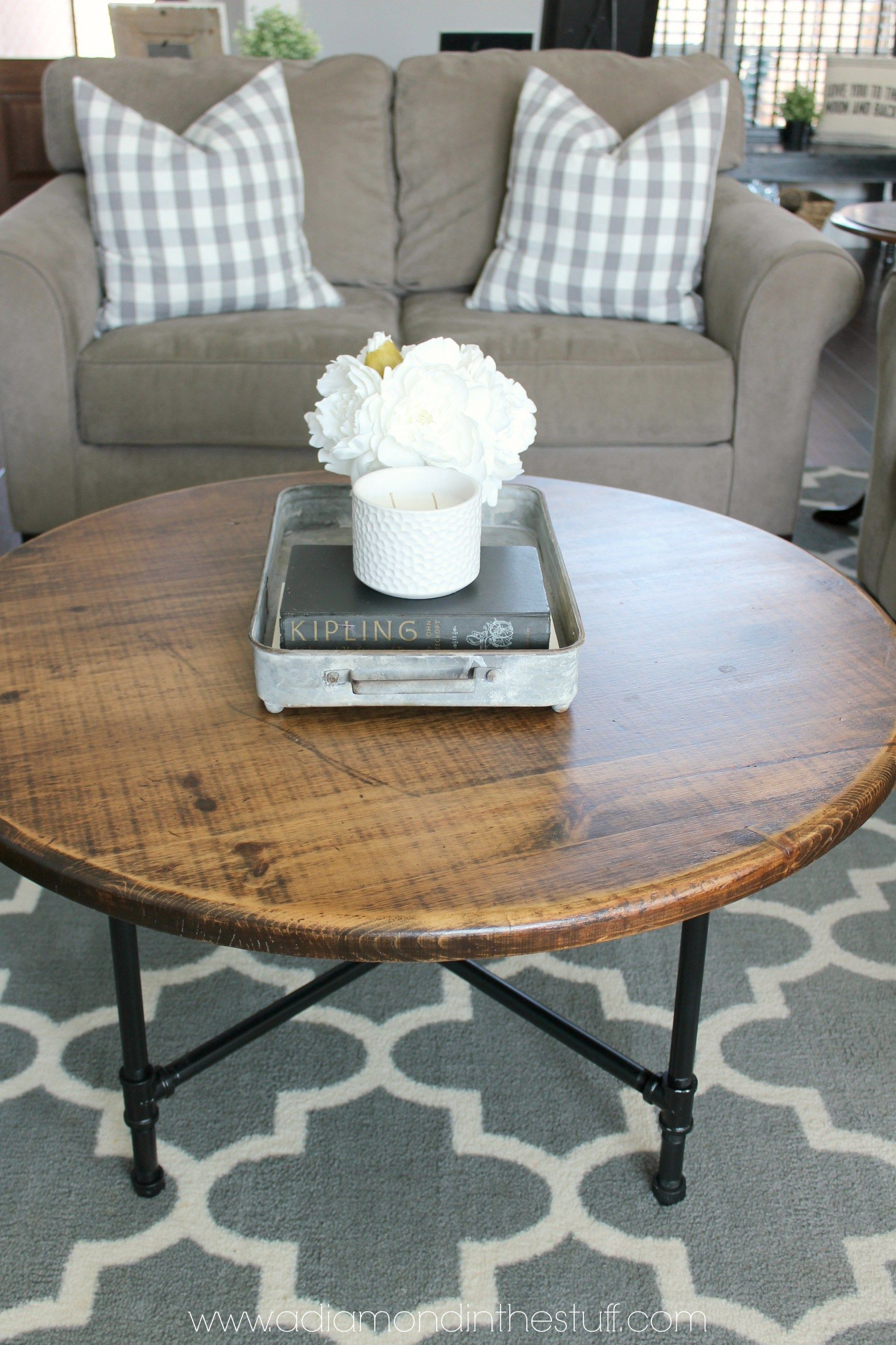 DIY Round Industrial Coffee Table Round coffee table diy