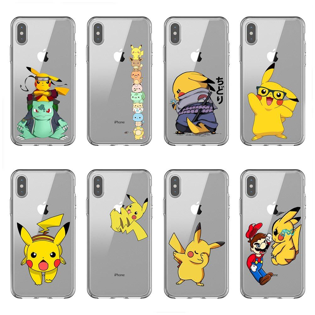 7 Style Pikachu Pokemon Tpu Cute Soft Case Back Cover For Iphone 6