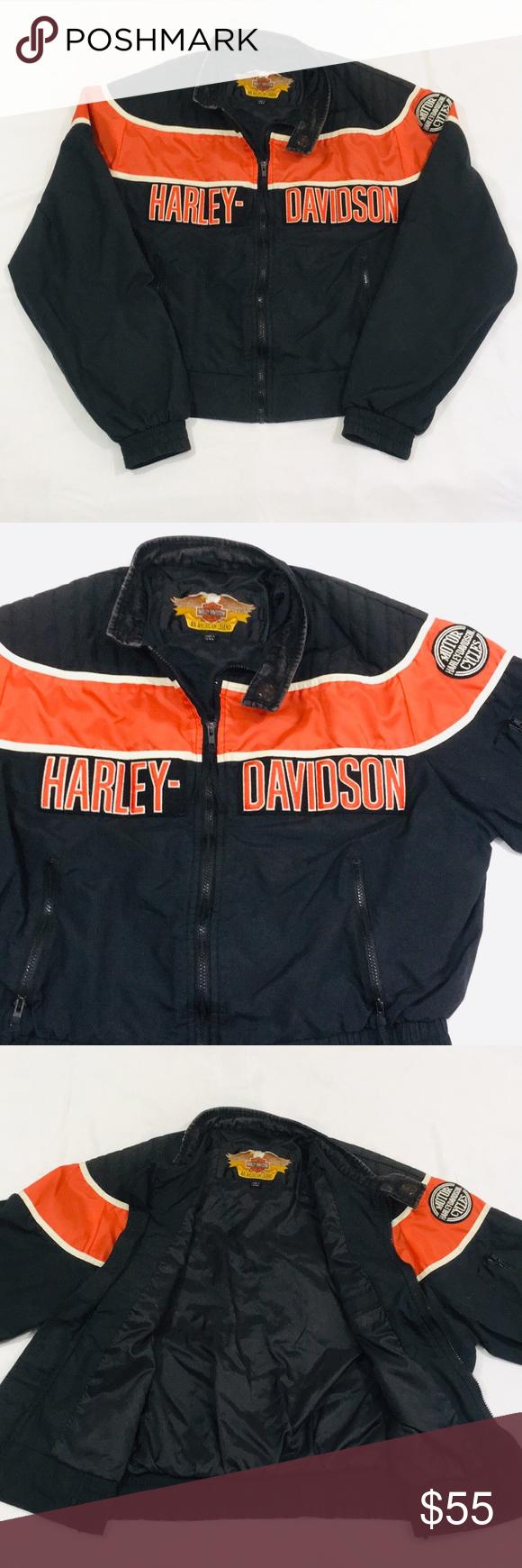 Vintage Embroidered Harley Davidson Racing Jacket Vintage Jacket Jackets Harley Davidson
