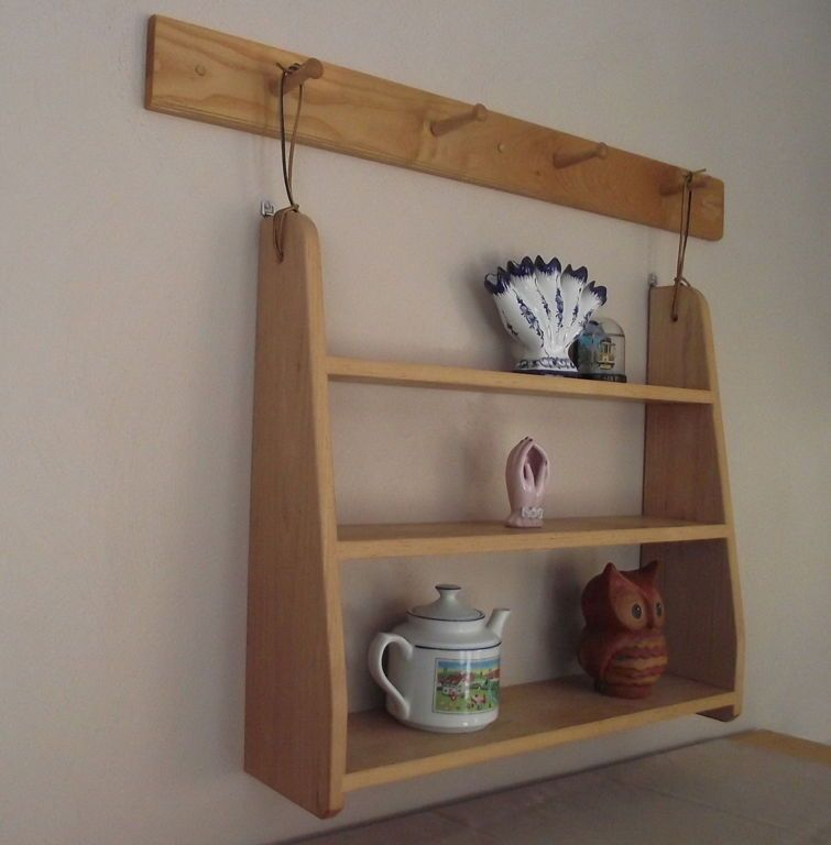Decorations:Natural Classic Cream Wooden U Shaped Wall Mounted Bookshelf  With Three Shelves Mounted On