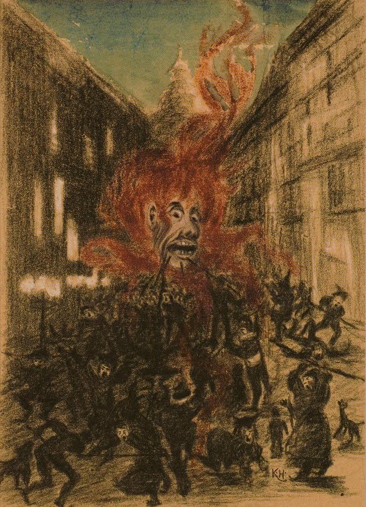 Karel Hlaváček, The Demon in the Street (The Demon of War) 1896