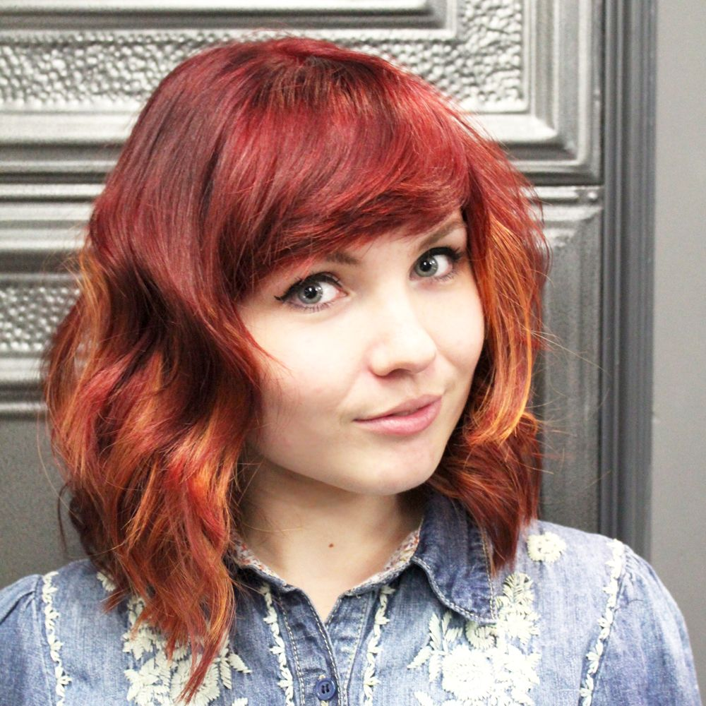 Short layered red hair with copper ombre cut coloured and styled