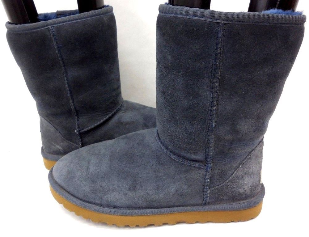3ee8d6d7683 UGG Australia Womens Classic Short 5825 Shearling Navy Suede Mid ...