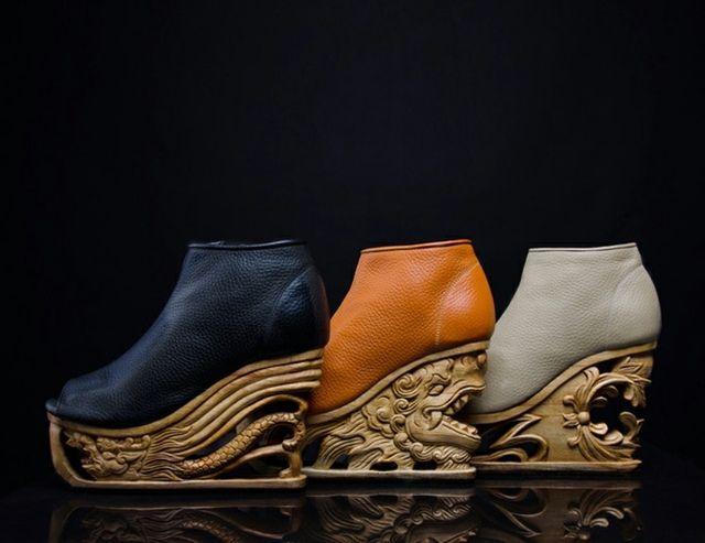 Damenschuhe Holzsohle modernes Design Modewelt