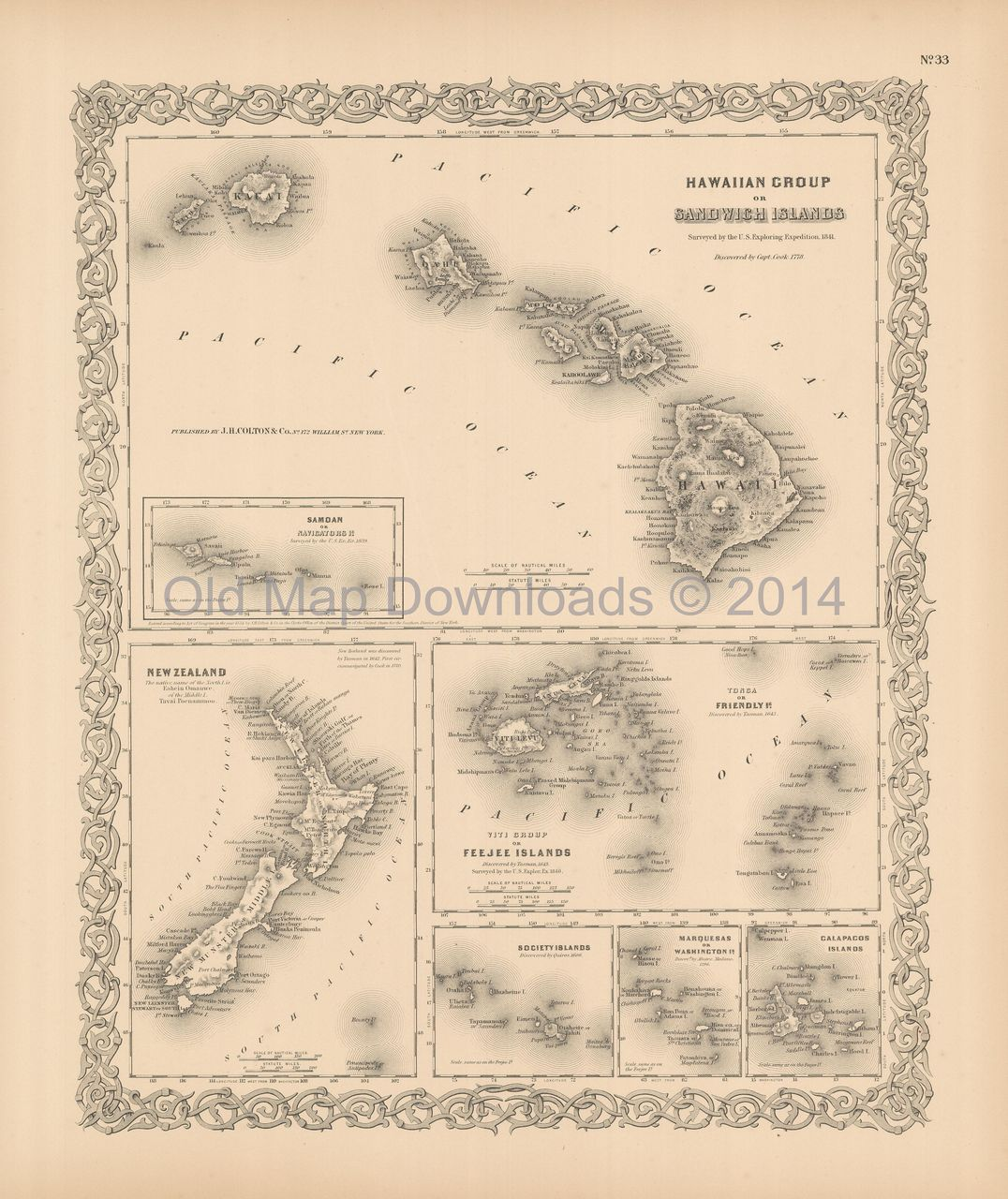 Download New Zealand Map.Hawaii New Zealand Old Map Colton 1856 Digital Image Scan Download