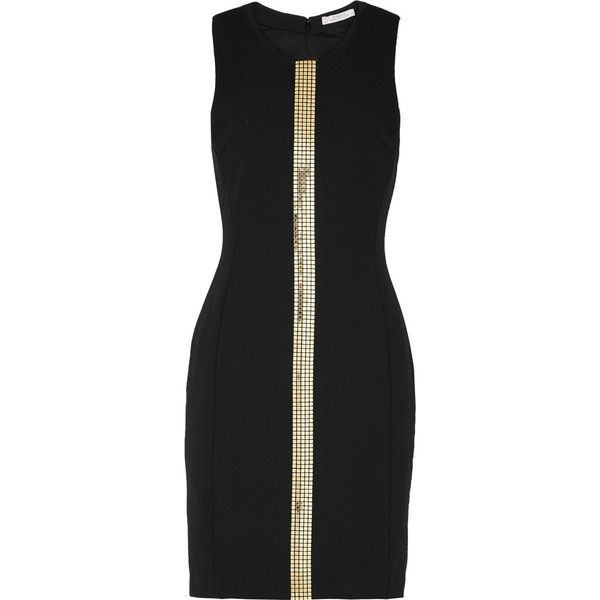 Versace Collection Studded crepe mini dress (2 385 SEK) ❤ liked on Polyvore featuring dresses, black, mini dress, crepe dress, slimming dresses, versace dress and slim fit dress