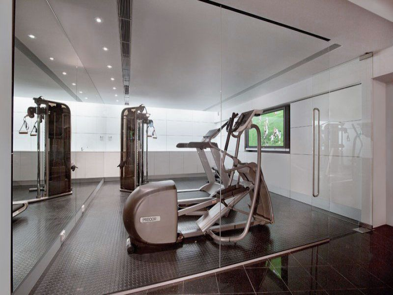 Fabulous Gym Room With Glass Doors For Modern Home Design Ideas Fabulous Gym Room With Glass