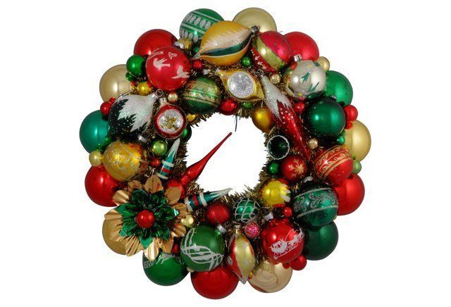 Green, Red & Gold Vintage Ornament Wreath