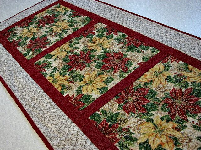 Quilted Table Runner, Christmas Poinsettia Table Runner, Red Green Gold Beige, Quiltsy Handmade by VillageQuilts on Etsy