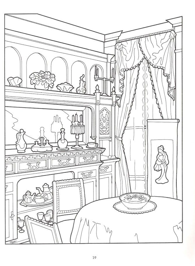 The Victorian House Coloring Book, Dover Publications ...