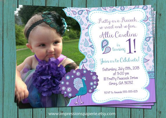 Paisley Peacock A Custom Photo Birthday Invitation By Best - 1st birthday invitations girl purple