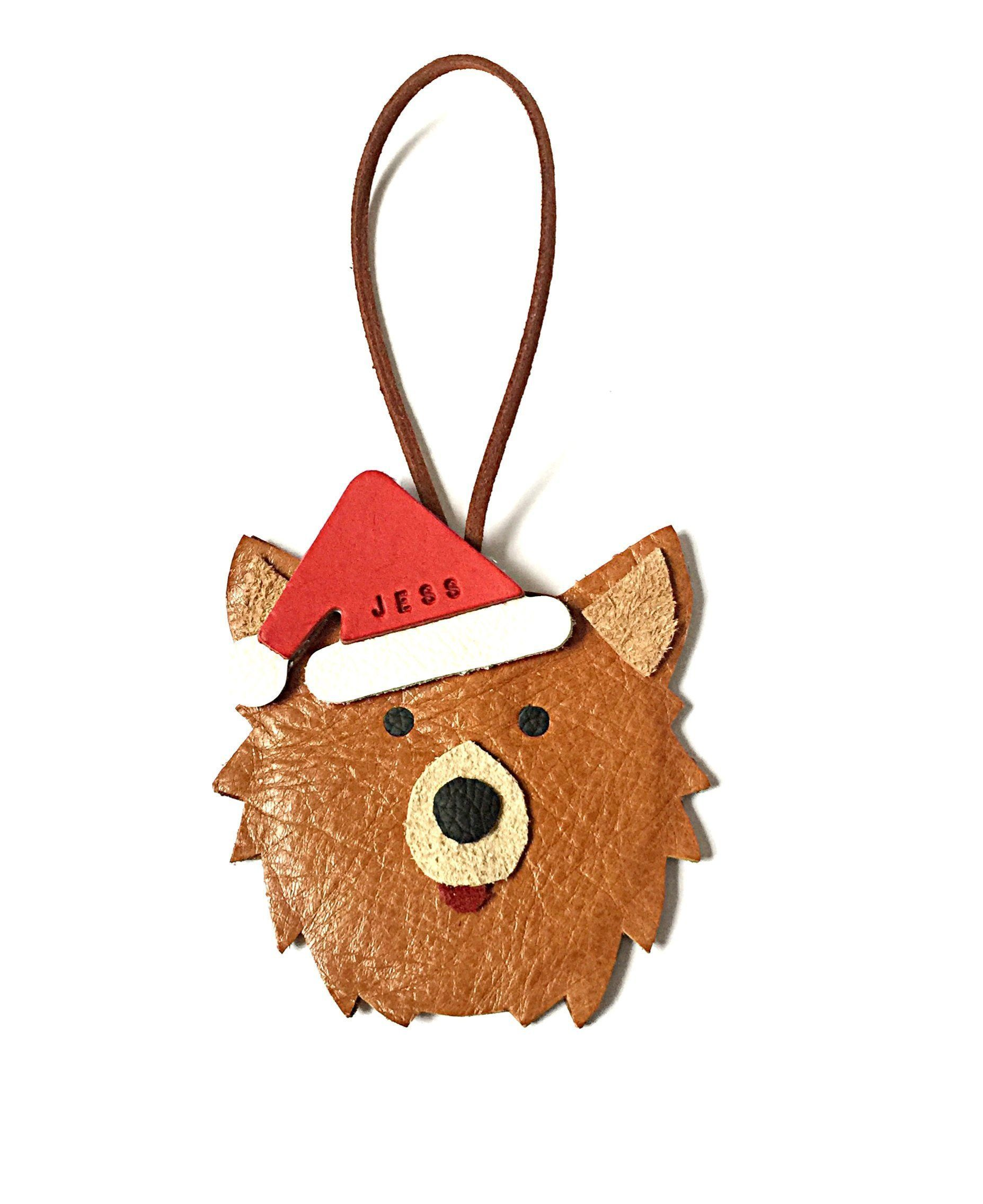 Pomeranian Christmas Ornament Personalised Leather Dog
