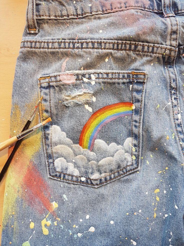 Gemalter Jeansregenbogen#fashion