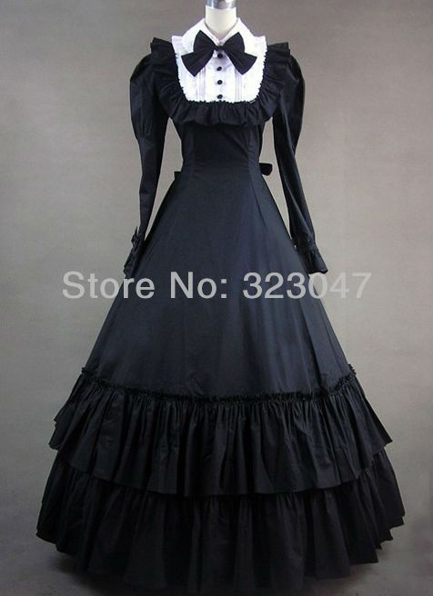 4d95922faa Custom Made Vintage Victorian Gothic Dress With Long Sleeves Prom ...