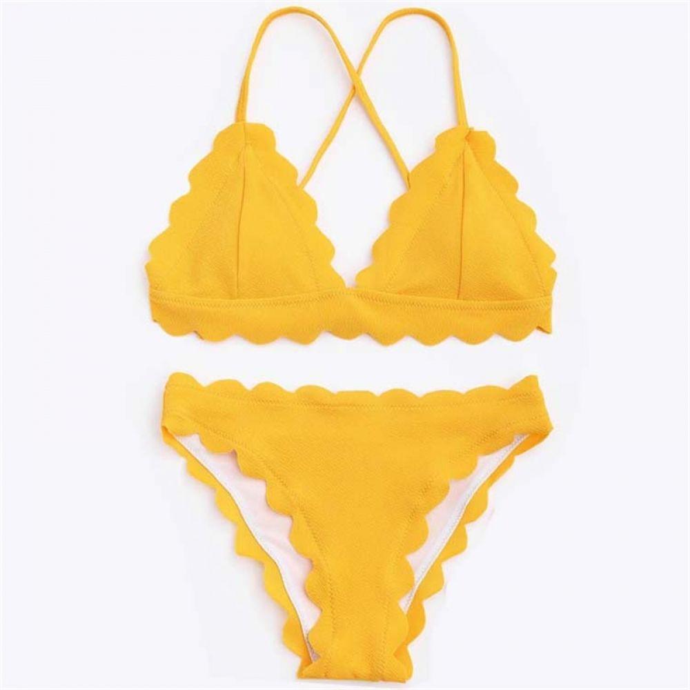 53293ffe68c Swimwear Women Yellow Bikini Sexy Swimsuit Velvet Bikinis 2019 Swimming  Suit for Women Wavy Edge Bathing Suit Womens Swim Wear Price: 29.00 #tees