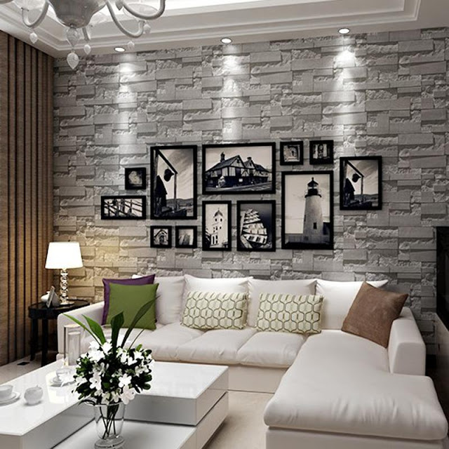 Feature 3d Fake Wall Stone Effect Wallpaper Decorating Ideas Modernity Decor Fake Walls Decor Home