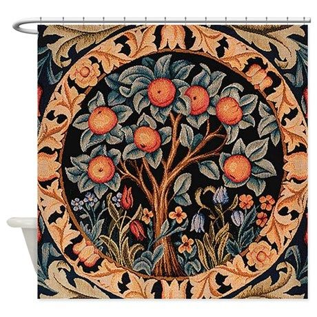 Orange Tree Of Life Shower Curtain By Fineartdesigns William