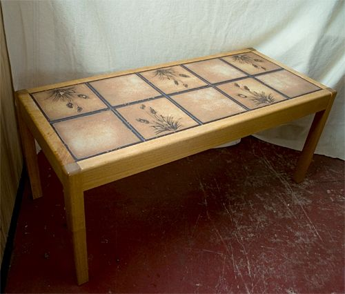 Retro Tile Top Teak Rectangular Coffee Table