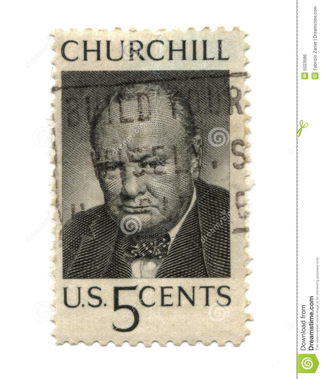 viintage stamps | Old postage stamp from USA five cent - Churchill.