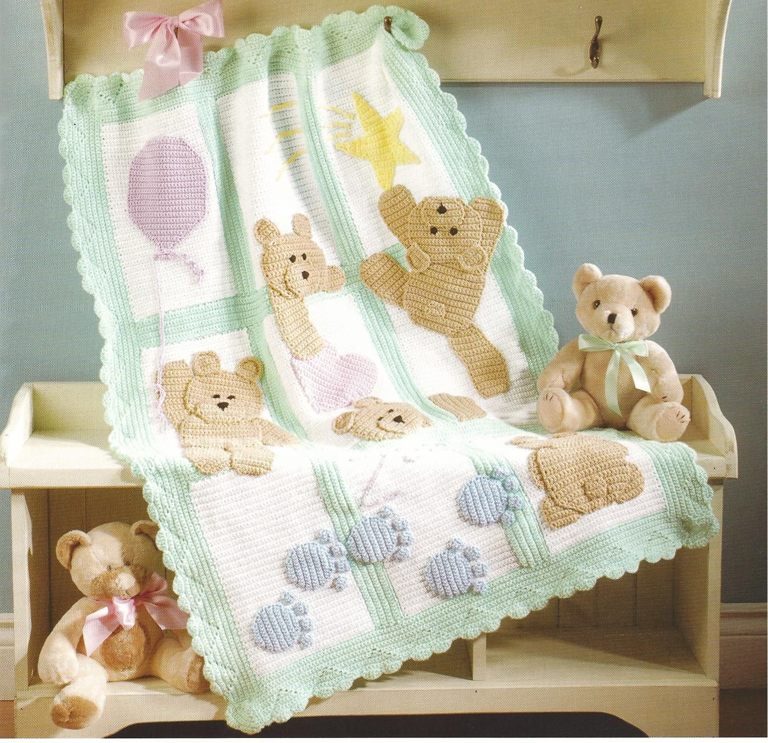 7 of the Best Baby Afghans Crochet Patterns~Bears~Ducky~Bubbles+ ...