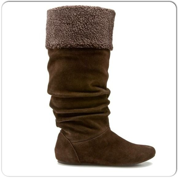 Prada Suede Fur Cuff Mid Calf Boot Deserto: Suede Boots ⚡️Brown Slouchy Boots With A Genuine Suede