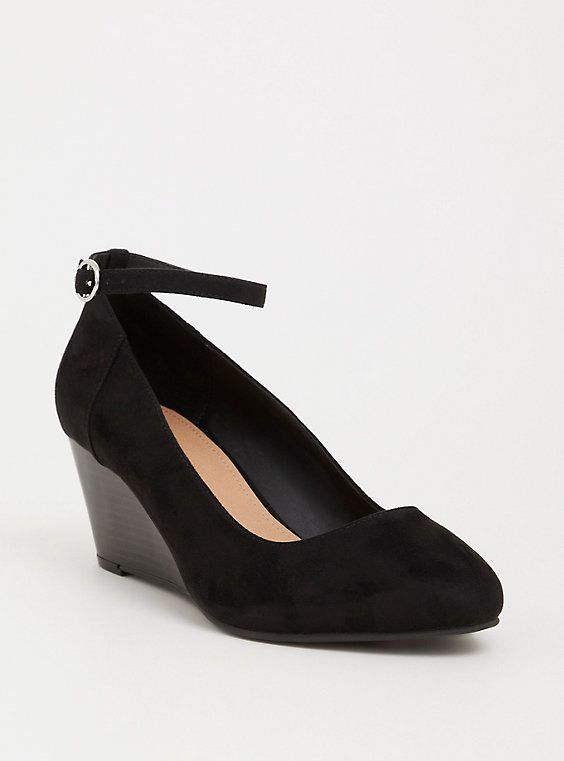 ad25682a1e6 Black Faux Suede Midi Wedge (Wide Width) | Products | Plus size ...