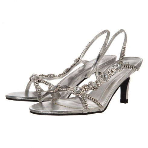 Open Toe Strappy Diamante Medium Heeled Sandals