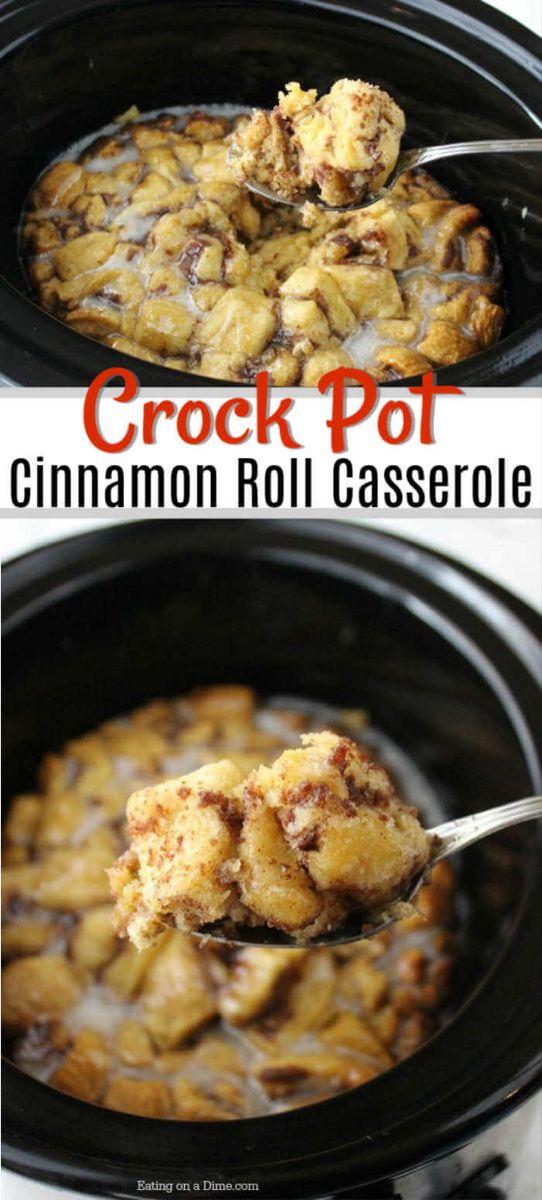 Crock Pot Cinnamon Roll Casserole - Easy Slow Cooker Cinnamon Rolls