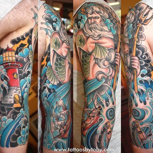 Sleeve Ink Tattoo Arm Color Tattoo Mermaid Saint: Pin By Katy Shumate On Tats And Piercings