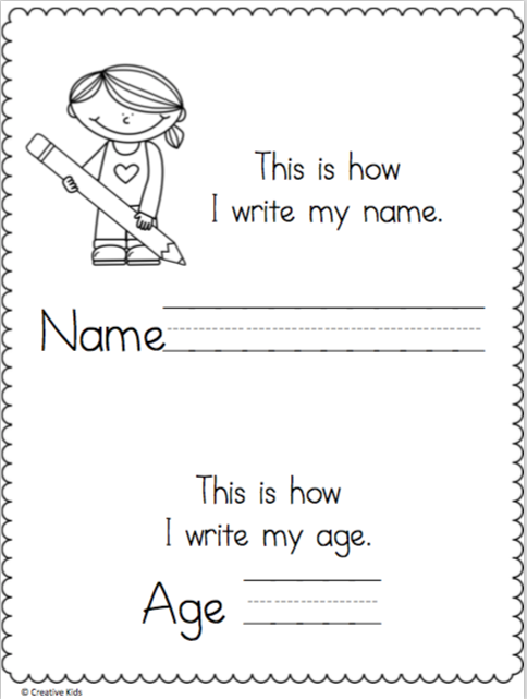 Write My Name and Age Page | Kindergarten Language Arts ...