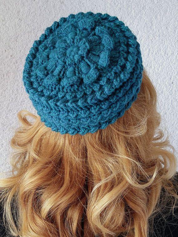 Womens gift Pillbox hat toque Crochet hat winter 50s by Mandasa ... 90edf4ecfa1