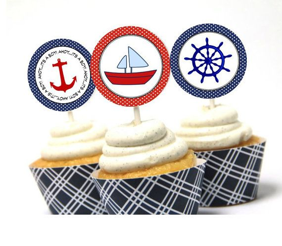 INSTANT Nautical Theme Cupcake Topper by TwoLaughingLambs on Etsy, $2.50