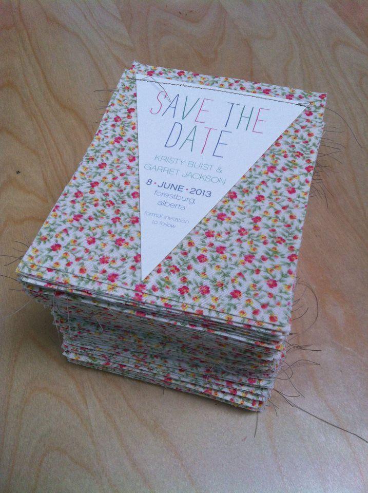 Edmonton Wedding - PinkPolka Invitations - Fabric Save The Dates ...