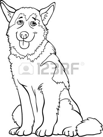 Black and White Cartoon Illustration of Funny Siberian Husky or ...